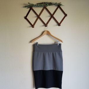 LuLaRoe Gray Black Color Block Cassie Pencil Skirt
